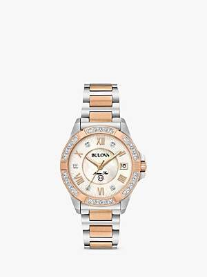 Bulova 98R234 Women's Marine Star 0.02ct Diamond Date Bracelet Strap Watch, Silver/Rose Gold