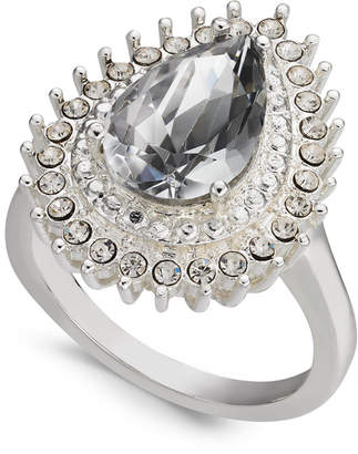 Charter Club Silver-Tone Crystal Teardrop Ring