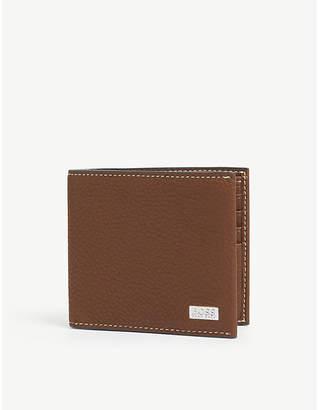 BOSS Logo plaque leather billfold wallet