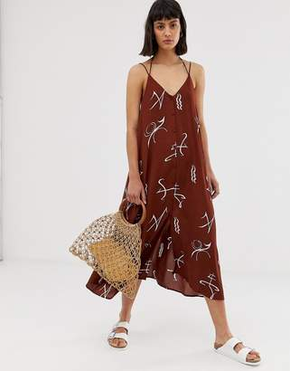 Weekday sign print midi cami dress in rust