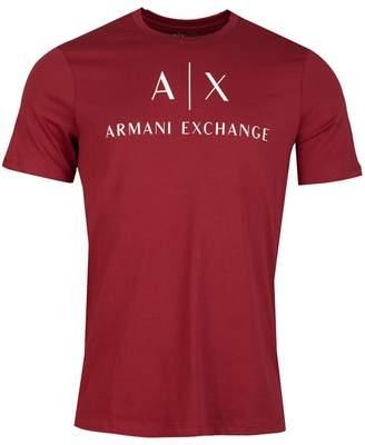 Armani Exchange Script Logo Crew Neck T-shirt Colour: DARK RED, Size: