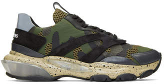 Valentino Green and Black Garavani Bounce Sneakers