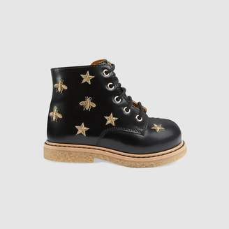 Gucci Toddler bees and stars lace-up boot