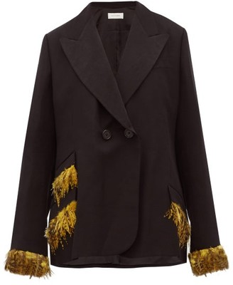 Wales Bonner Double Breasted Feather Trimmed Jacket - Womens - Black