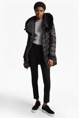 French Connection Moto Asymetric With Fur Trimmed Hood Coat