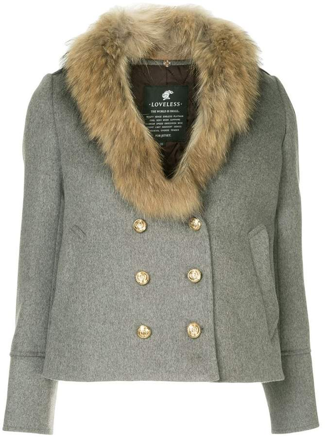 Loveless fur collar double-breasted jacket
