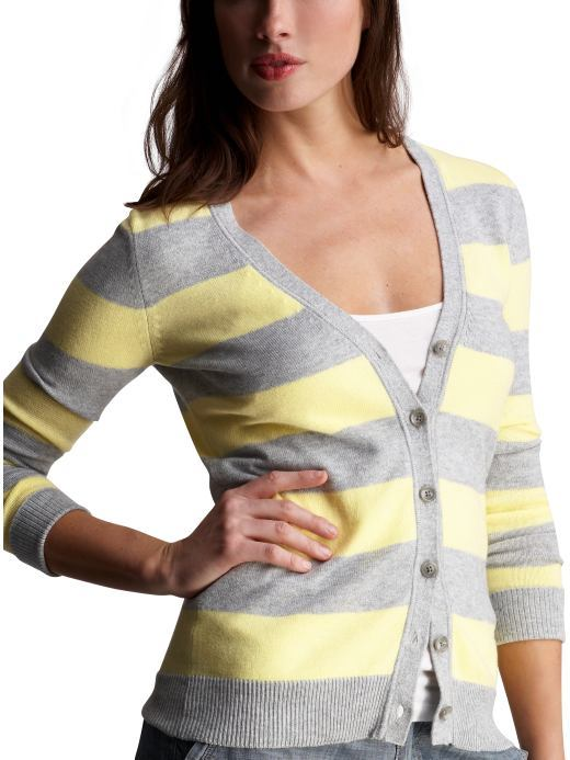 Rugby-striped V-neck cardigan