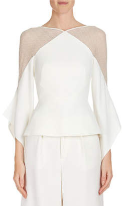 Roland Mouret Harthill Flutter-Sleeve Lace-Shoulder Top