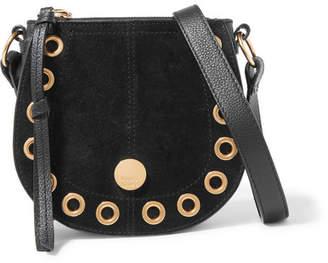 See by Chloe Kriss Mini Eyelet-embellished Textured-leather And Suede Shoulder Bag - Black