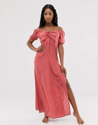 Asos Design DESIGN plunge front lace up milkmaid beach maxi dress