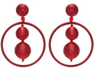 Oscar de la Renta Bead Embellished Ball And Hoop Drop Earrings - Womens - Burgundy