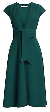Oscar de la Renta Women's V-Neck Crepe Belted Dress