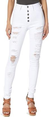 TheMogan Women's High Waisted Ripped Distressed Destroyed Skinny Jeans, White, 7