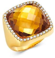Roberto Coin 18K Yellow Gold Citrine Doublet Cocktail Ring with Diamonds