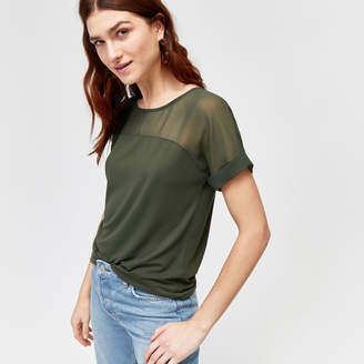 Warehouse Sheer Panel Short Sleeve Top