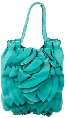 Valentino Leather Rosette Tote Turquoise Leather Rosette Tote