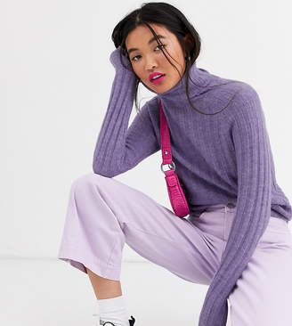 Monki ribbed knitted roll neck jumper in lilac