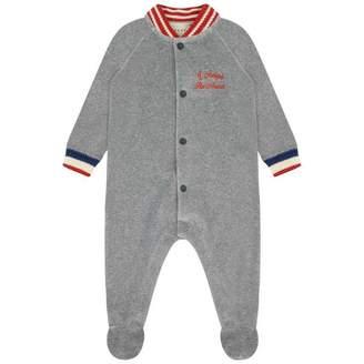 Gucci GUCCIBoys Grey Velour Babygrow