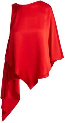 Osman Auriene one-shoulder layered satin top