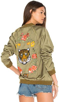Lauren Moshi Garden Tiger Bomber Jacket in Army $352 thestylecure.com