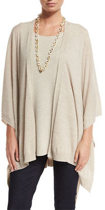 Eileen Fisher Fisher Project Artisan Merino Poncho Cardigan, Maple Oat $378 thestylecure.com