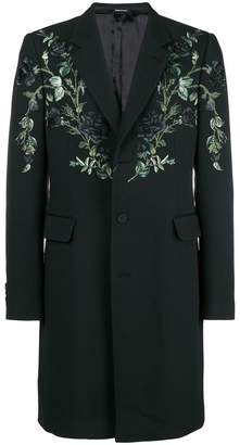 Alexander McQueen floral embroidered single breasted coat
