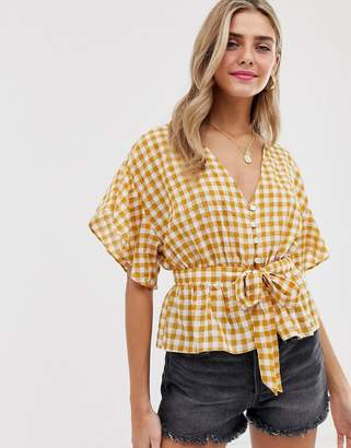 139753b995b50a Miss Selfridge tie front blouse in yellow gingham