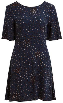 Vila Short-Sleeved V-Back Polka Dot Print Dress