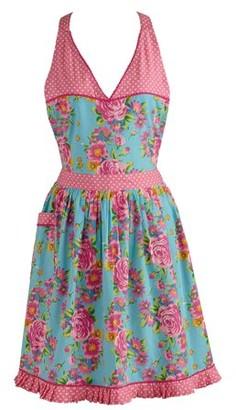 Design Imports Blue Floral and Pink Polka Dot Vintage Apron