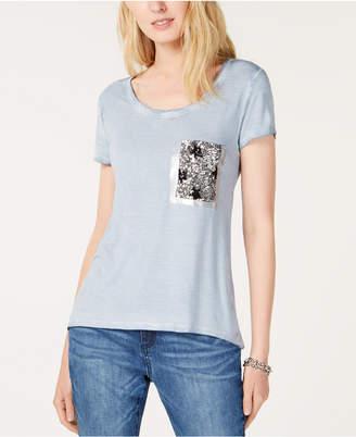 INC International Concepts I.n.c. Sequined Glitter-Block T-Shirt