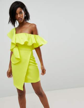 Asos DESIGN Asymmetric Ruffle Wrap Mini Cocktail Dress