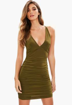 Missguided Khaki Slinky Cross Back Ruched Side Bodycon Dress