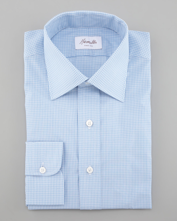 Hamilton Mini-Check Dress Shirt, Blue