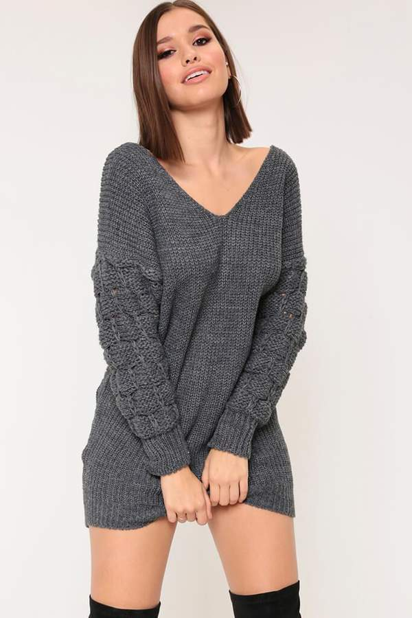 Isawitfirst Charcoal Bubble Sleeve Jumper Dress