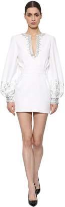 Azzaro Embellished Stretch Satin & Crepe Dress