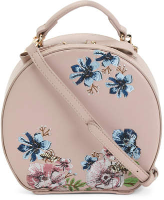 Embroidered Flowers Round Crossbody