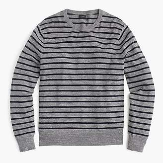 J.Crew Tall rugged cotton crewneck sweater in pewter stripe