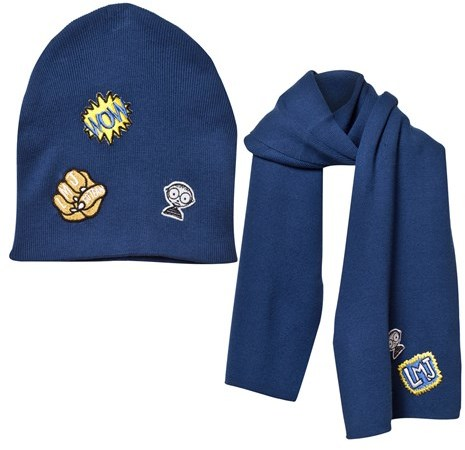 Little Marc Jacobs Little Marc Jacobs Blue Patch Knitted Scarf and Hat Set