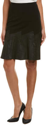 Elie Tahari Leather-Trim A-Line Skirt