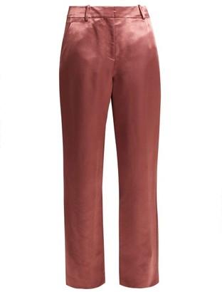 Sies Marjan - Tatum Satin Trousers - Womens - Dark Pink