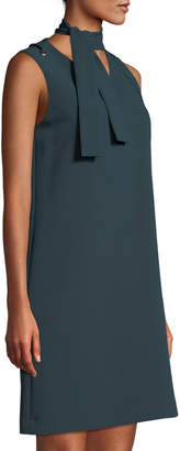 Tahari ASL Sleeveless Crepe Shift Dress with Tie-Neck Detail