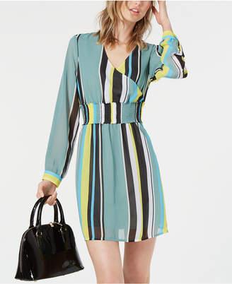 Bar III Striped Smocked-Waist Dress