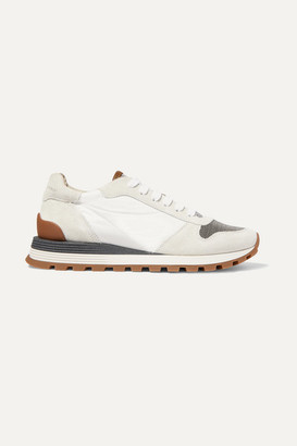 Brunello Cucinelli Bead-embellished Nylon, Suede And Leather Sneakers - Off-white