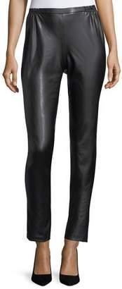 Caroline Rose Bi-Stretch Faux-Leather Pants, Petite