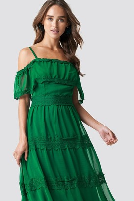 Trendyol Shoulder Strap Lace Midi Dress Green