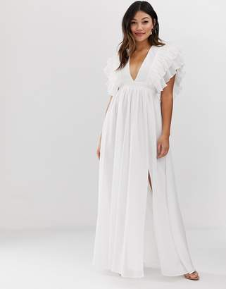 e757f6ad13d True Decadence premium plunge front maxi dress with shoulder detail in white