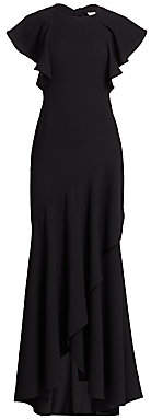 ML Monique Lhuillier Women's Flutter Sleeve Tiered Wrap Ruffled Crepe Gown