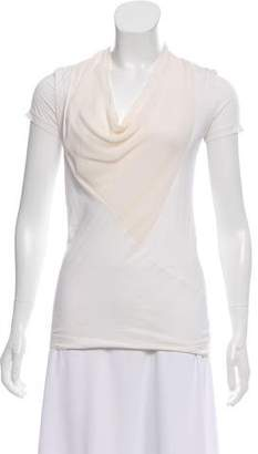 Theory Silk-Trimmed Cowl Neck T-Shirt