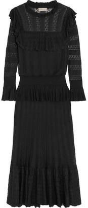 Temperley London Cypre Ruffled Pointelle-knit Midi Dress - Black