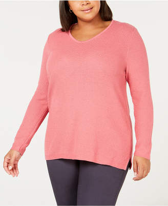 Karen Scott Plus Size Cotton Marled-Knit Tunic Top